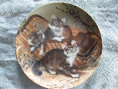 Edwin K. Knowles Gone Fishing Maine Coon Cats Amy Brackenbury Collector's Plate