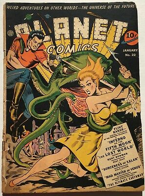 Planet Comics #22 (Jan 1943, Fiction House) missing centerfold, pages ripped