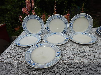 "7 x Minton & Co ""Antique"" pattern Diamond marks c1864 plates 10.30 inches"