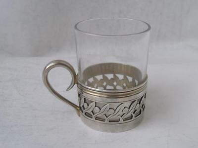French Solid Silver & Glass Shot Cup c. 1930/ H 4.8 cm