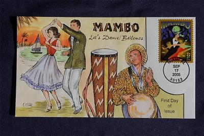 Let's Dance Mambo 37c Stamp FDC HandPainted Collins#F4004 Sc#3942 Bailemos