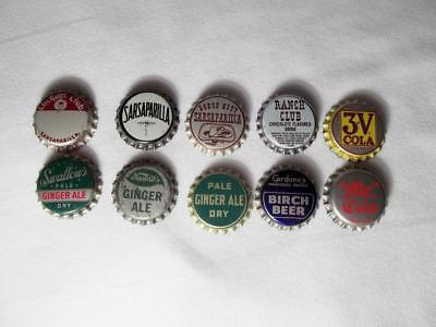 Lot Of 10 Vintage Unused Soda Pop Bottle Caps Cork Cola Sarsaparilla Ginger Ale