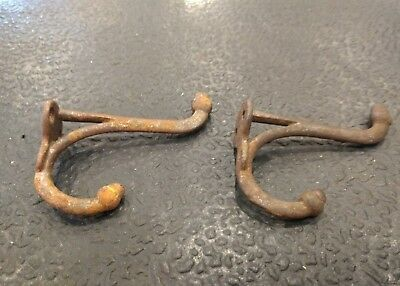 Set of 2 Vtg cast iron metal acorn tipped double coat hat hooks hardware - sl