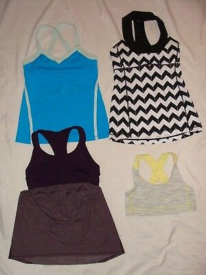 LOT OF 4 LULULEMON ATHLETICA Stretch RUNNING WORKOUT SPORTS BRAS TOPS Womens M