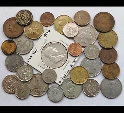 Foreign World Coins W/silver, Lot Of 29 *read Prior Bidding*