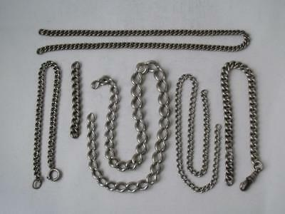 6 Pieces of Solid Sterling Silver Watch Albert Chains/ 101 g