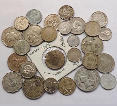 l@@K  FOREIGN WORLD COINS W/SILVER, LOT OF 24, *READ PRIOR BIDDING*