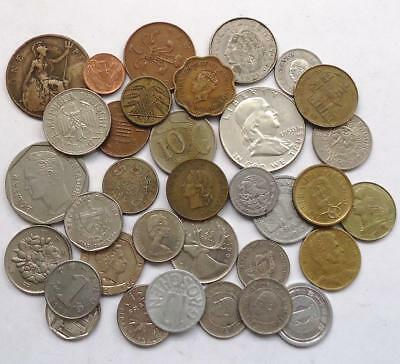 Foreign World Coins W/silver, Lot Of 34, *read Prior Bidding*