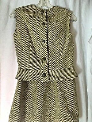 Tweed Wool & Leather Vest and Skirt Set