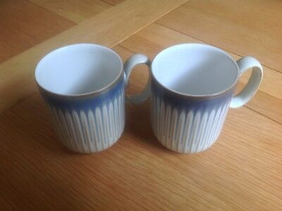 Two Denby Linen Fluted Mugs Beige/ Cream/ Blue VGC