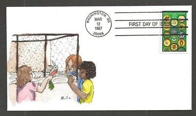 1987 Girl Scouts 75th anniversary # 2251 FDC Mille handpainted