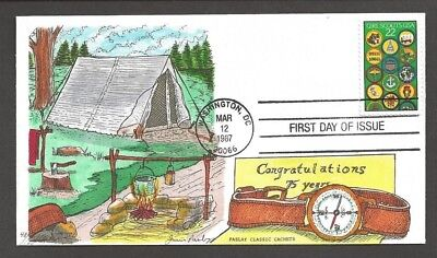 1987 Girl Scouts 75th anniversary # 2251 FDC Paslay handpainted