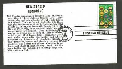 1987 Girl Scouts 75th anniversary # 2251 FDC hand made Coin 4 numbered