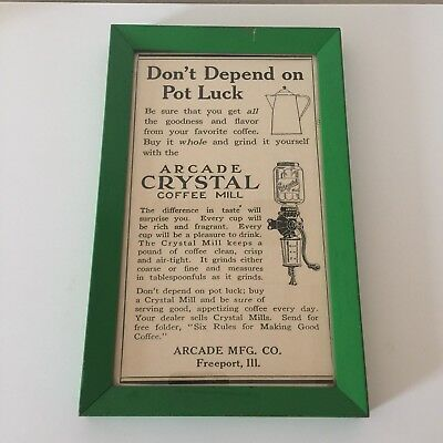 Vintage Print Ad - Arcade Crystal Coffee Mill Advertisement - Framed