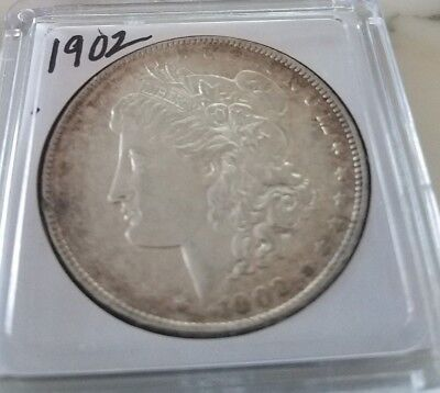 1902 Morgan Silver Dollar with great marking Brilliant Coin.  Toning around edge