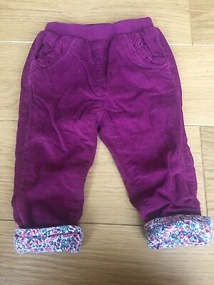 Jojo Maman Bebe Violet Needlecord Lined Floral Pull On Trousers 12-18 Baby Girl