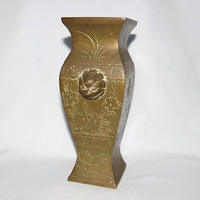 Genuine Old Patinated Asian Brass Vase Great Shape Very Heavy