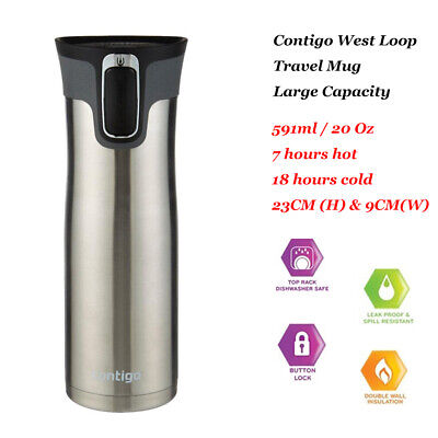 Contigo West Loop Thermos Large Drink Flask Travel Mug SS Autoseal® 591mL 20oz