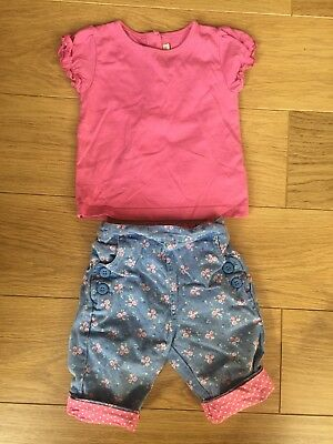 Jojo Maman Bebe Summer Floral Shorts & T-shirt Outfit 12-18 Months Baby Girl