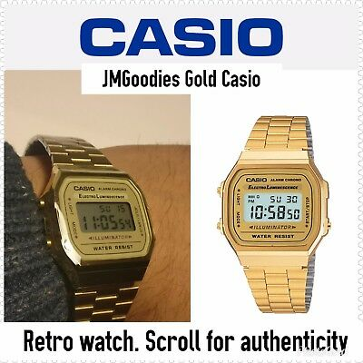 Casio Retro Unisex Digital Steel Bracelet Watch-A168WA-1YES Gold - Refurbished