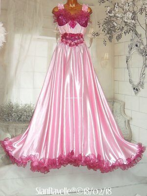 Sian Ravelle LUXURY Pink Satin Lace Padded Bra Long Gown Sissy Glam Slip Dress