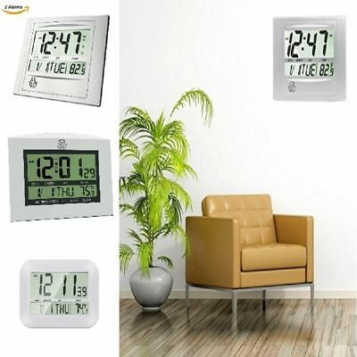 LARGE Decorative Atomic Non Ticking Wall Clock with Temperature Battery Operated