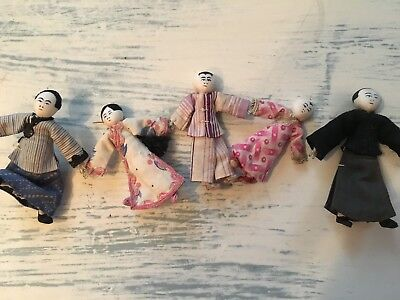 Antique Chinese Cloth Dolls Holding Hands (Wire hands, Cloth, Handpainted Faces)