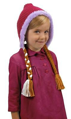 Anna Knit Hoodie Hat Disney Frozen Fancy Dress Up Halloween Costume  Accessory 92f505f12d8b