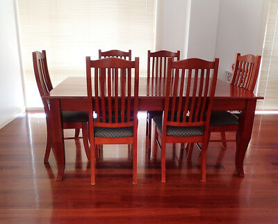 Dining Table and 6 Chairs Timber 1830 x 1060