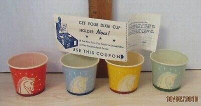 Vintage 4 Small Dixie Cups With Coupon Horse & Crown Design