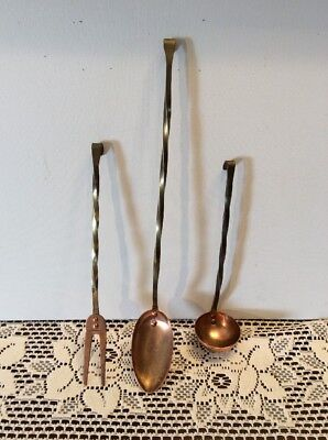 Copper Hanging Kitchen Utensil Set Brass Twist Handles Spoon Fork Ladle Decor