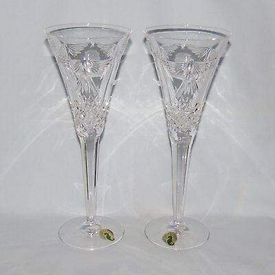 pair WATERFORD CRYSTAL Millenium Year 2000 toasting goblets PEACE