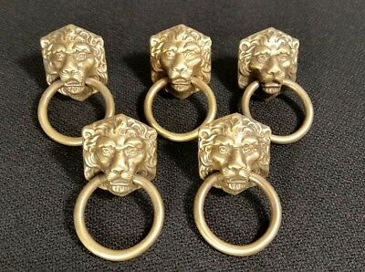**vintage Set Of 5 Brass Lion Head Drawer Pulls/handles**