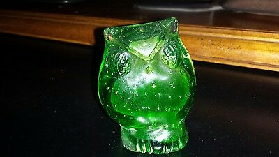 Vintage Green Glass Owl Paperweight