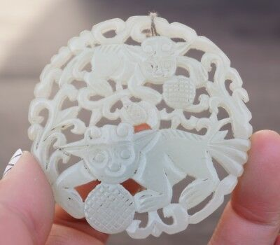 Chinese Exquisite Hand-carved Two monkeys carving Hetian jade pendant