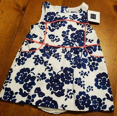 JANIE AND JACK Dress Infant girls size 3-6 months white & blue Floral NWT