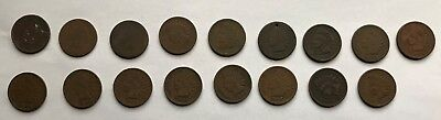 Lot of Indian Head Pennies, Assorted Years from 1880-1909; Asking Price Reduced