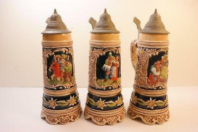 German DBGM Musical Lidded Beer Steins 3 total No Reserve