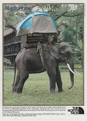 1981 North Face: Mobile Home, Elephant Vintage Print Ad