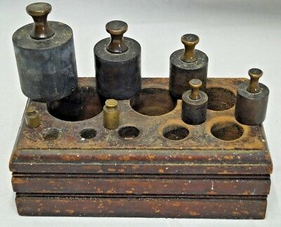 Late 1880s 90s Antique Brass Scale Weights Apothecary Medical or Precious Metals
