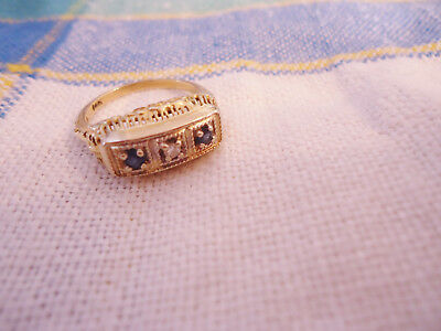 Ornate Vintage Art Deco 14K Gold Filigree Ring w/Sapphires Diamond Size 6 1/2
