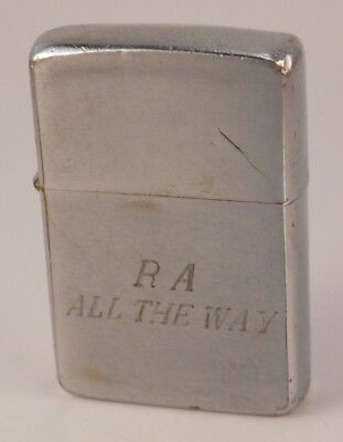 Vintage Stainless Steel Zippo Lighter c.1950- c.1957 Engraved R.A All the Way