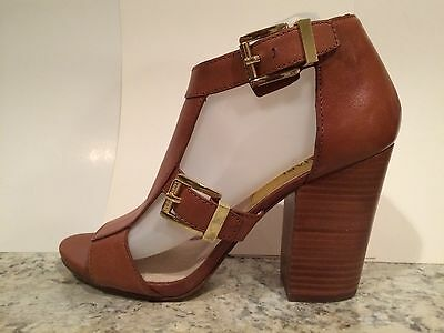 fdc2c11ee20 Michael Kors High Heel Sandals Leather T-strap Strappy Open Toe Luggage 9 M  New