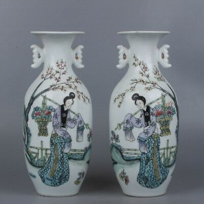 Chinese Exquisite Hand-Painted Beauty and floral patterns porcelain Vase A pair