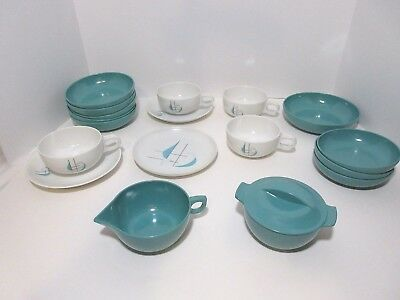 Lot Of 18 Vintage Mid-Century Melmac Florence-Prolon & Aztec Aqua Design Dishes