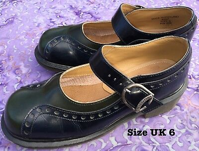 Vintage Dr Martens Mary Janes Made in ENGLAND Size UK 6 Green and Navy Excellent