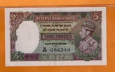 ***     India Five Rupees Banknote-1937-1943