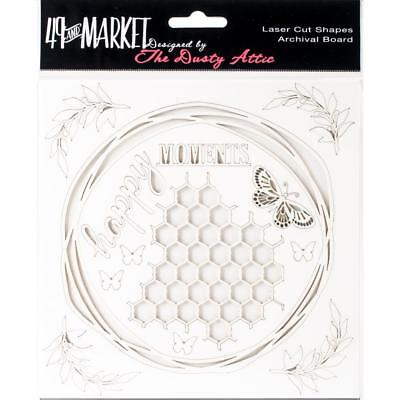 """49 and Market Chippies ~ HAPPY MOMENTS ~ WHITE 6"""" x 6"""" Chipboard NEW Dusty Attic"""