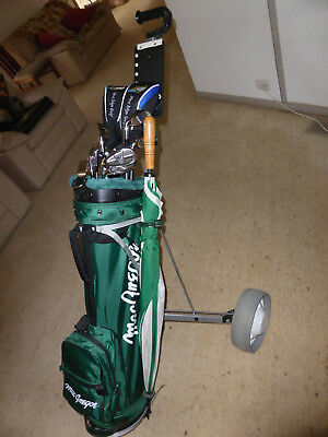 Left Handed Precept 71 Full Golf  Club set bag and buggy.