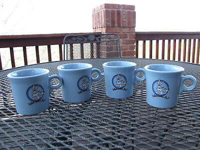 4 Looney tunes Fiesta Bugs Bunny mugs Blue perfect cond.